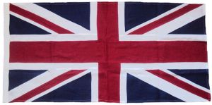 British Union Jack sewn flag linen cotton cloth