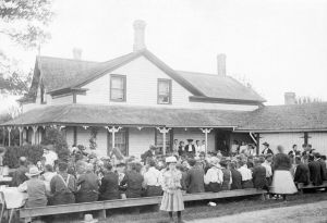 Barn_raising_supper_at_the_Klinck_home_in_Victoria_Square,_Markham_Township,_Ontario,_Canada